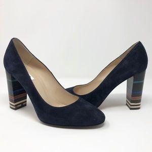 L.K. Bennett London Blue Suede Stripe Block Heels